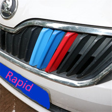Accessories 3D Car Styling Front Grille Trim For  Rapid Sport Strips Cover Motorsport Power Sticker