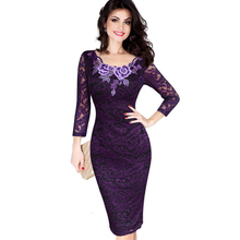 Womens Dress Autumn Elegant Embroidery See Through Lace Party Evening Sheath Vestidos Bodycon Dress 214