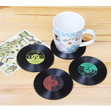 4Pcs Silicone Vintage Vinyl Record Coasters Cup Pad Table Drinks Mats DIY Home Bar Accessories