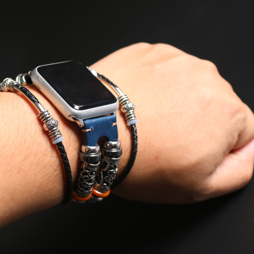 Handmade Apple Watch Band Made Ethnic Vintage Bead With Leather Retro Punk Style Bracelet 44Mm/ 40Mm/ 42Mm/ 38Mm Fits Apple Watch Series 1 2