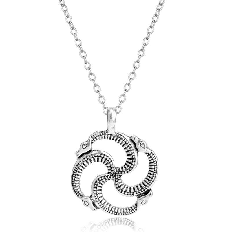 Knotwork Ouroboros Necklace Norse Viking Snake Runes Nordic Talisman Pagan  Wicca Spiritual Jewelry Men Silver Women ed28a241b