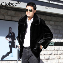 2017 New Imitation mink marten velvet thermal winter Coat outerwear faux men's clothing fur overcoat male leather clothing L618
