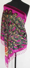 Hot Selling Hot Pink Triangle Ladies' Velvet Silk Beaded Shawl Embroidery Scarf Peafowl Free Shipping WS005-A