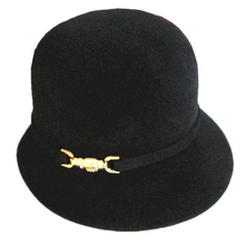 Black Women's Wool Felt Madam Angora Rabbit Flapper Cloche Hat