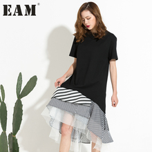 [EAM] 2017 autumn Fashion Trend New O-neck Short Sleeve Black Split Joint Striped Mesh Hem Dress Women HAA3931D