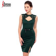 IDress Club Factory Runway Designer Hollow Out Sexy Women Embroidery Bodycon Dress with Belt Black * Blue * Green Party Dresses