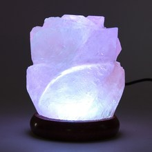 USB Powered Salt Lamp Air Purifier Crystal Night Light Wooden Base Colorful Table Desk Light Bedside Home Decor