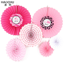 HAOCHU 6pcs/set Tissue Hanging Paper Fans For Home Garden Wedding Backdrops / Kids Birthday Party / Baby Shower/ Wall Decoration(China)