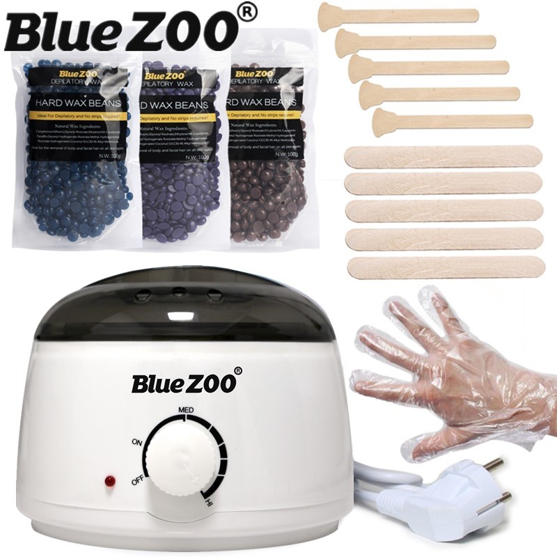 Beauty Waxing Kit Body Electric Wax Pot Heater with 3 Bags Hard Wax Beans 100g and 10 Spatula for Brazilian Wax Hair Removal<br>