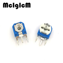 F017-11 50PCS RM063-104 vertical 100K ohm (blue white) blue and white can be adjusted resistance / potentiometer WH06-1