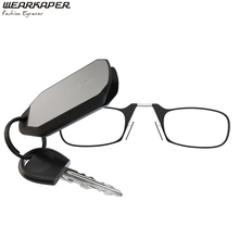 WEARKAPER Portable Nose Clip Keychain Reading Glasses 1.0 -3.0 Men Women Eyeglass Ultra light auto keyholders Reading glass box