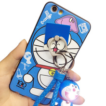 Free Shipping For oppo f1s case with Finger Ring Lanyard Cartoon 3D cute Doraemon Silicon Fitted case for oppo f1s case cover(China)
