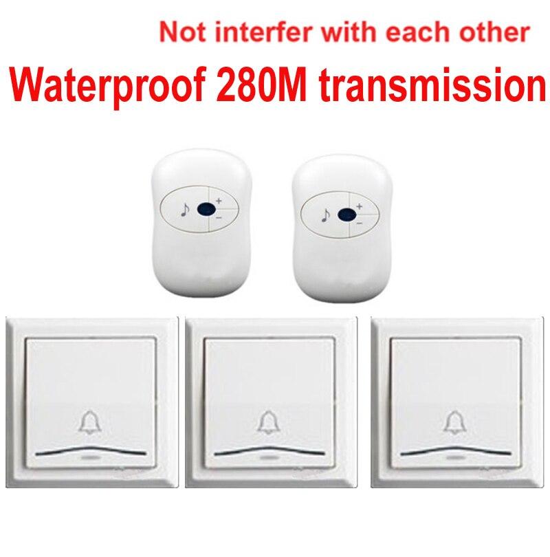 3 emitters+2 receivers doorbell Waterproof 280m work wireless doorbell,wireless door chime,wireless bell, 36 melodies door bell<br>
