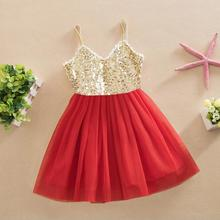2016 cheap Children girl straps party sequined tulle dresses toddler girl sleeveless dancing bling dress for kids 5pcs/lot