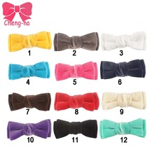 3.5 Inch Velvet Ribbon Girls Boutique Tie Hair Bows Mixed 12 Colors Hairbow Headwear Kids Hair Accessories 12pcs/lot