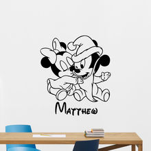 Mickey Mouse Personalized Name Wall Decal Carton Vinyl Sticker Baby Decor Free Shipping HW10018
