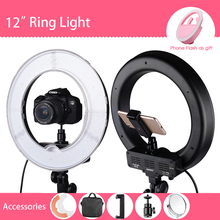 "SAMTIAN Camera Photo/Studio/Phone/Video 12"" 42W 180LED 5500K Photography Dimmable Ring Lamp Light with Mirror For Makeup Photo"