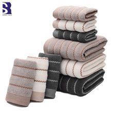 SunnyRain 3-Pieces Striated Cotton Towel Set Bath Towel For Adults Face Towel Hand Towel High Absorbent 430GSM(China)