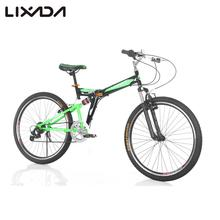 Lixada 26 inches Bicycles Carbon Steel 7 Speed Double Shock Absorption Folding Mountain Bike Double V Brakes Bicycle