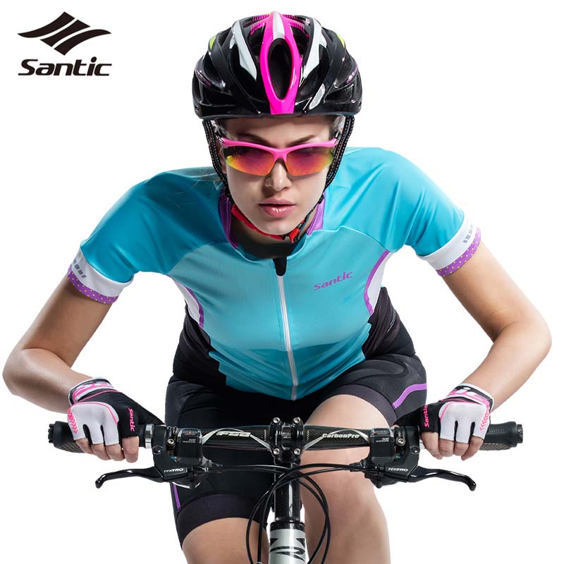 2016 Summer NEW Short Sleeve Women Cycling Jerseys SANTIC Breathable Sunproof Cycling Clothing Tops Bicycle Bike Shirt Jerseys<br>