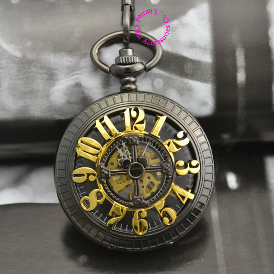 coupon price good quality new 12 arabic number man vintage antique classic black gift mechanical pocket watch hour with chain<br><br>Aliexpress