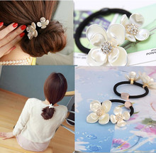 New Korean Women Hair Accessories Rhinestone Tiara Hair Rope Imitation Pearl Shell Flower Elastic Headband Rubber Hair Band(China)