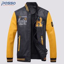 2017 new white yellow leather jacket leather jacket men motorcycle men faux leather jacket red leather jacket men(China)