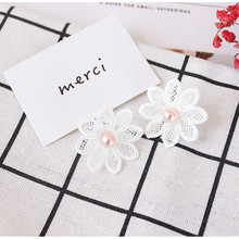Free shipping fashion ladies jewelry personality elegant white lace earrings flower pattern temperament elegant retro