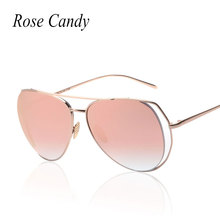 Rose Candy New Pilot  Mirror  Women Sunlgasses 2016 Fashion Brand Design Men Lady UV400 Large Frame Sun Glasses Super deal