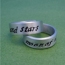 Christmas gift Game of Thrones Ring - My Sun and Stars & Moon of My Life - A Pair of Hand Ring Couple Rings For Lovers