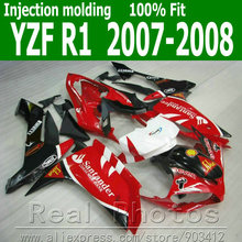 Injection molding Lowest price fairing kit for YAMAHA fairings YZFR1 2007 2008 red black Santander 07 08 YZF R1 NB80