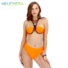 HEUCHERA 2017 New Bikinis High Waist Swimsuit Women Orange Swimwear Female Vintage Retro Beach Wear Push Up Bikini Set Secret