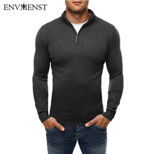 Envmenst Brand Sweater Pullover Men Casual Slim Sweaters Classic Zipper High Collar Simple Solid Color Men Polo Sweater 3XL(China)
