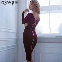 Explosion Hot Factory Outlet Women's Spring Autumn Winter Dresses Sexy Zipper On Back Slim One-piece Dress Plus Size S-XL SY440