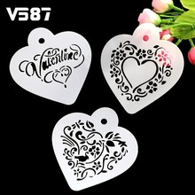 Cake Stencil 3Pcs/Set Love Valentine White Plastic Airbrush Painting Art Mold DIY Mousse Cake Fondant Brim Bake Decorating Tools(China)