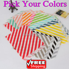 200pcs Pick Your Colors Diagonal Striped Party Paper Favor Bags Candy Treat Gift Green Blue Navy Gray Black Aqua Yellow Pink Red