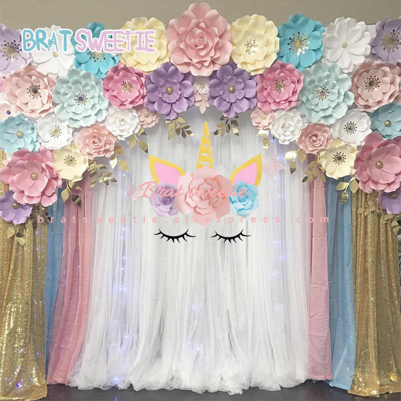 Unicorn Party Backdrop Horn Eyelashes Paper Flowers Wall Decor Unicorn Birthday Party Decorations Kids DIY Photo Background
