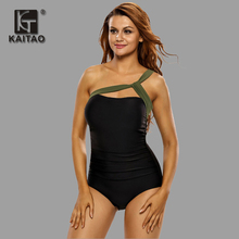 KAITAO 2017 One Pieces Swimsuit Summer Beach Wear Vintage Bandages black Solid Swimwear Women Swimsuit Body Swimming Costum