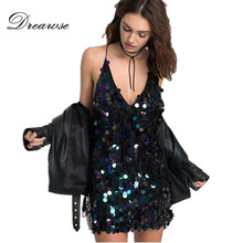Dreawse Europe Summer Punk Street V-neck Strap Sequins Disco Sexy Dress  Women Halter Harness e8fd4ebafe19