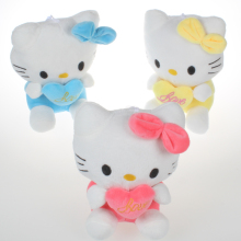 1 Pcs lovely small hold heart Hello Kitty stuffed plush toys baby toy Hello Kitty doll girls Christmas gifts 17cm
