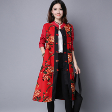 Ethnic Embroidery Women Autumn Winter Plate Button Plus Size Red Black Floral Print Jackets National Wind Retro Vintage Coats 6