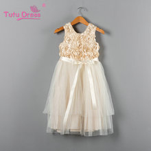 2018 Summer New Kids Dress Princess Party Costume Infant Clothing Cream Rosette Baby Clothes Birthday Girls Tutu Dresses(China)