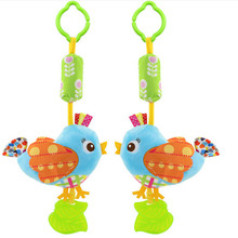 Baby Toys Rattles Toy Kids Soft Bird Chick Owl Plush Toy Animal Clip Baby Crib Bed Hanging Bells Toys for Stroller(China)