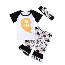 Family Sister BEST FRIEND 3PCS Set Cotton T-shirt Tops Pants Headbands Toddler Kids Baby Girls 2017 fashion Outfit Clothes set