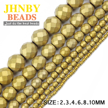Buy JHNBY Matte Faceted Round Hematite ball 2/3/4/6/8/10mm Natural Stone ore Gold color Loose beads Jewelry bracelets Making DIY for $2.49 in AliExpress store