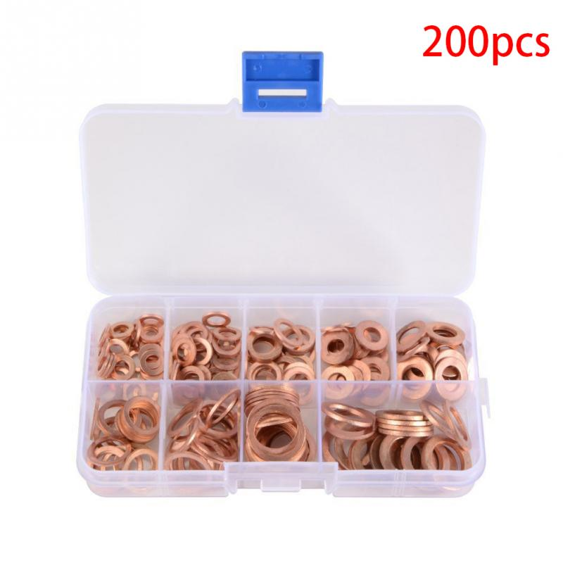 Details about  /200pcs Copper Washers Metric Sump Plug Washer Ring Seal Assortment Kit SP