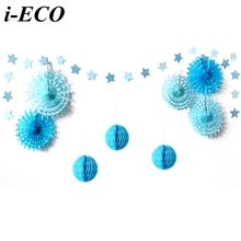 1 Set Pink&Blue Tissue Paper Fans Paper Garland Honeycomb Balls For Kids Birthday/Wedding Party Decoration Baby Shower Supplies(China)