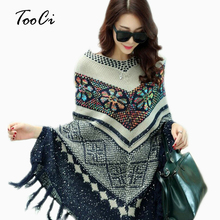 Pull Trui Vest Womens Capes En Ponchoes Lente Winter Cape Met Kwastje vrouwen Trui Fashion Vintage Bohemian(China)
