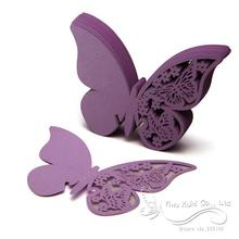 50X Purple 3D Butterfly Place Cards Glass Wine Wedding Party Home Decoration