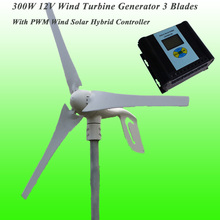 Hot Selling 3 Blades 300 Watt 12V Wind Turbine Generator & Wind Solar Hybrid Controller With CE Approved and 3 Years Warranty